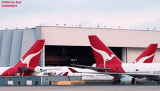 Three Qantas B747-438's airliner aviation stock photo