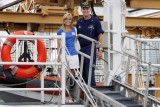 Michelle and CAPT Patrick Stadt onboard the USCGC BERTHOLF (WMSL 750), photo #0574C
