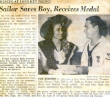 1944 - news article about Jack High receiving medal for saving life of boy
