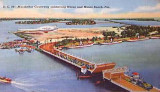1940's - postcard aerial view of MacArthur Causeway and Watson Island