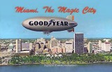 1960's - the Goodyear GZ-19A Blimp Mayflower VI N4A flying past downtown Miami
