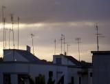 Sunset with radio aerials