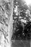 Grand Capucin : forage du premier trou à golot