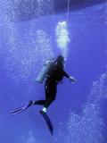 Diver Under Boat on Safety Stop