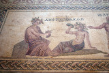 Pafos Archaeological Site Mosaic Dionysos brings wine to Ikarios