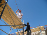 Bill up on the scaffolding helping out