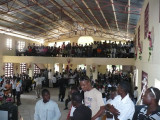 approx 600 inside for church and lots of people outside standing