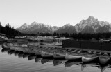 Colter Bay Marina at Sunset with Canoes Black and White.jpg