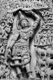 Krishna lifting the Govardhan mountain, Halebidu