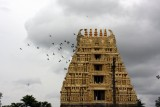 The rain clouds and the birds add to the beauty of Belur