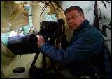 Myself inside the vulture hide - nice and cosey....
