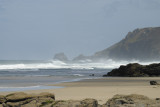Porthtowan beach - 2008 - wind topping the breaking waves