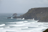 towards St Agnes head and Bawden rock on a windy day