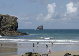 St Agnes beach with Bawden rock - safe family swimming at all tides, wheee!!