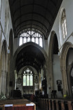 interior with rather unusual window above chancel arch