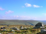 from east of Hare Tor, Kneeset on horizon, letter-boxers bottom left