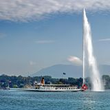 Steamer and fountain, Lake Geneva