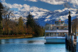 Boat and mountains, Thun