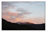 Midnight sun on the mountains