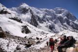 on moraine below glacier