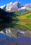 Maroon Bells reflection, Maroon Lake, Aspen, CO