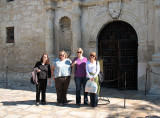 Jean, Donna, Patty, and Celeste at The Alamo's mission, fortress, and shrine