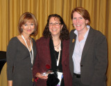 Jean (center) accepts her 2009 HPPAE Leadership Award as Outstanding Principal Investigator