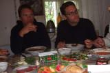 Enjoying a traditional Georgian meal