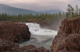 waterfall on the Dulismar river in twilight