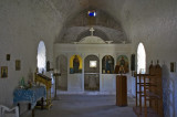 Interior of a small Greek orthodox chapel