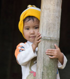 Northern Vietnam: this young boy stopped his play to watch the strangers go by