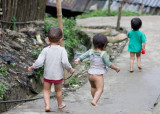 Northern Vietnam: Hmong kids at play in Cat Cat village