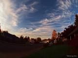 AN AUTUMN FISHEYE SKY AT SUNSET