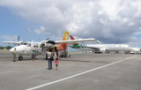 Boarding the Twin Otter to Praslin