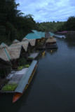 Rafthouses at River Kwai in late evening
