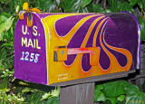 Painted _ Golden & Purple Custom Painted Mailbox