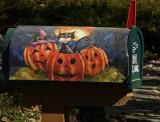 Painted - Halloween Cat & Pumpkins