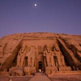 Abu Simbel Sun rise and Moon set
