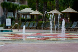 Dancing fountains at the outdoor pool