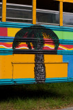 An old painted school bus at the Broad Creek marina