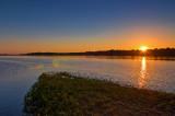 Wisla River Panorama At Sunset