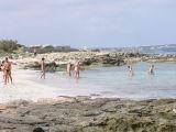 Bathers enjoy the warm sea