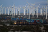Wind turbines and Union Pacific freight train