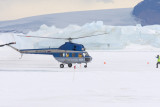 Helicopter landing at base camp