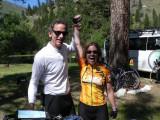 Gregg congratulates Karen on her fine cycling.jpg