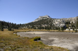 A dry Cathedral Lake and Tresidder Peak
