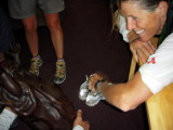 Lorie Hutchison rubs the Budda belly at the Stovepipe Wells medical HQ