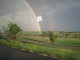 we drove through a dramatic hail storm in Montana on the way to the race, followed by this spectacular double rainbow