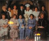 The seven daughters of tzaddik and two widows of his sons at the wedding of the Bobover bridge`s grandson