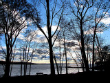 paysage sur fond bleu